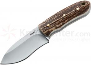 Boker Plus Fitz Hunter Fixed 2-1/2 inch Blade, Stag Handles, Leather Sheath (02BO288)