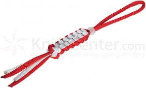 Boker Wilson Tactical Lanyard, Red/White, Glow in the Dark Bead (09WT007)