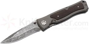 Boker Leopard Damascus II Folding Knife 3.75 inch Blade, Aluminum Handles with Ziracote Wood Inlay