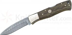 Boker Damascus Collector's Folding 3-1/8 inch Plain Blade, 3,000 Year Old Oak Wood Handles (110100DAM)