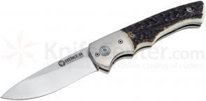 Boker Titan Hunter Folding Knife 3-1/2 inch Satin Blade, Stag Handles 110171