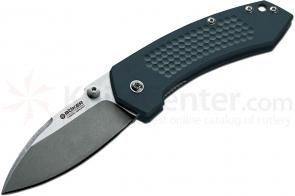 Boker Solo II Jens Anso Folding 3 inch N690BO Stonewashed Blade, Anodized Aluminum Handles (110634)