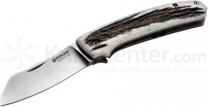 Boker Haddock Stag Folding Knife 3.325 inch N690 Plain Blade, Stag and Titanium Handles