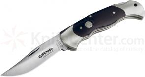 Boker Lockback Hunter Folding Knife 3-1/8 inch Cronidur 30 Blade, Grenadill Wood Handles