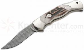 Boker Damascus Stag Lockback Folding Knife 3-1/8 inch Blade
