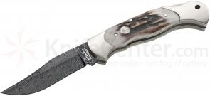 Boker Scout Folding Knife 3.125 inch Damascus Plain Blade, Stag Handles