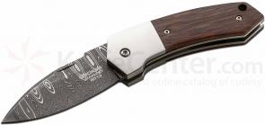 Boker 2013 Annual Damascus Collector's Knife 2-7/8 inch Riptide Damascus Blade, Ironwood Handles