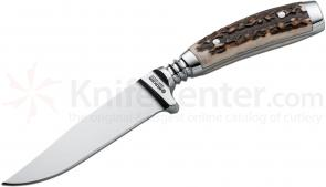 Boker Gobec Nicker Integral Hunter Fixed 4 inch Blade, Stag Handles
