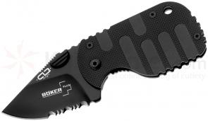 Boker Plus CLB Subcom F Black Folding Knife 1-7/8 inch Black Combo Blade, Black FRN Handle (01BO586)