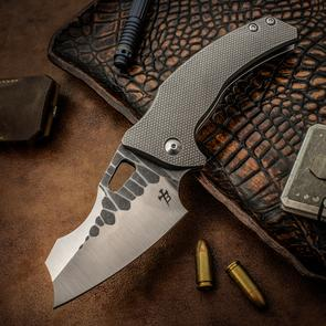 Borka Blades/Mike Bond Custom Collaboration Folding Knife 3.75 inch CPM-154 Borka Patterned Blade with Swedge, 3D Machined Titanium Handles