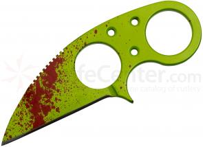 Brous Blades Zombie Green Silent Soldier V1 Neck Knife 2.25 inch D2 Blade, Kydex Sheath