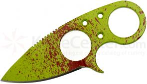Brous Blades Zombie Green Silent Soldier V2 Neck Knife 2.5 inch D2 Blade, Kydex Sheath