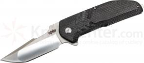 Brous Blades Dustin Turpin Strife Flipper 3.5 inch D2 Satin Blade, Carbon Fiber Handles
