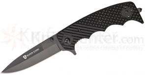 Browning Black Label Stone Cold Spear Point Folding 3-3/4 inch Black Plain Blade, Black G10 Handles