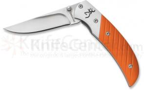 Browning Prism II Folding 2-5/8 inch Plain Blade, Orange Aluminum Handles