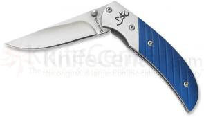Browning Prism II Folding 2-5/8 inch Plain Blade, Blue Aluminum Handles