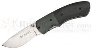 Browning Linerlock Folding 3-3/4 inch Closed Plain Blade, G-10 Handles