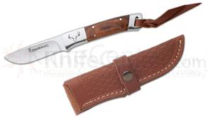 Browning Lil Bit Large Fixed 3-1/8 inch Plain Blade, Ironwood Handles, Leather Sheath Included