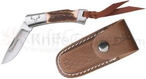 Browning Lil Bit Small Folding 2-3/4 inch Plain Blade, Stag Handles, Leather Sheath Included