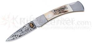 Browning Classic Lockback, Etched Blade, 2-3/8 inch Closed, Stag Handles
