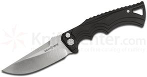 Brian Tighe and Friends Tighe Fighter Small AUTO 3 inch 154CM Stonewash Drop Point Blade, Black Aluminum Handles