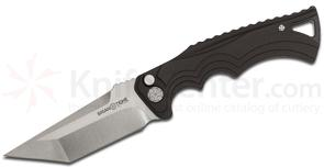 Brian Tighe and Friends Tighe Fighter Large AUTO 3.8 inch 154CM Stonewash Tanto Blade, Black Aluminum Handles