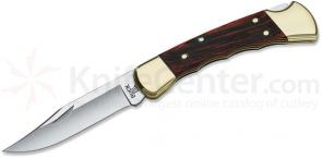 Buck 110 Folding Hunter 3-3/4 inch Blade, Finger Grooved, Macassar Ebony Dymondwood Handles, Leather Sheath