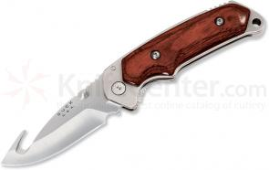 Buck Folding Alpha Hunter 3-1/2 inch Blade with Gut Hook, Rosewood Handles