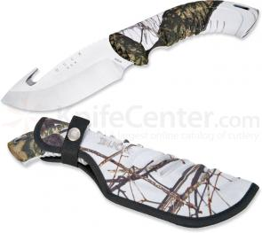 Buck Omni Hunter 12PT 4 inch Fixed Blade with Gut Hook, Mossy Oak Winter Camo Handles