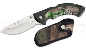 Buck Omni Hunter 12PT Folder 4 inch Plain Edge Blade w/Sheath, Camo