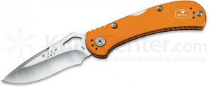 Buck 722 SpitFire Folding Knife 3-1/4 inch Plain Blade, Orange Aluminum Handles