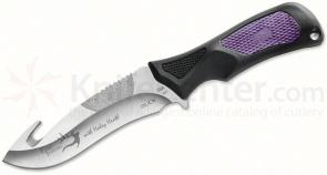 Buck Haley Heath ErgoHunter Adrenaline (Avid) Skinner Fixed 4-1/2 inch Sandvik Blade with Guthook, Purple Handles, Nylon Sheath