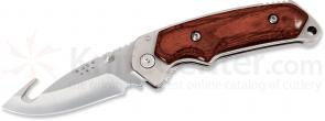 Buck 276 Folding Alpha Hunter 3-1/2 inch S30V Blade with Gut Hook, Rosewood Handles, Leather Sheath