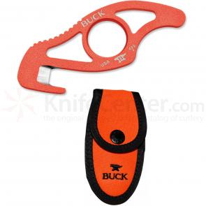 Buck 499 PakLite Strap Cutter, Orange Traction Coating, 4 inch Overall, Orange Nylon Sheath