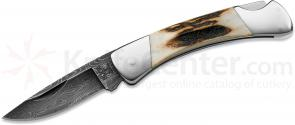 Buck 505 Stag & Damascus Knight Folding Knife 1-7/8 inch Blade, Stag Handles (0505STSLE1)