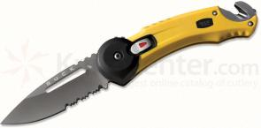 Buck Knives Redpoint Rescue Yellow Handle 2.75 inch Titanium Coated Combo Blade with Seatbelt Cutter