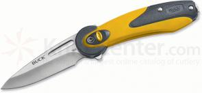 Buck 766 Revel SafeSpin Folding Knife 2-1/2 inch Plain Blade, Yellow Handles