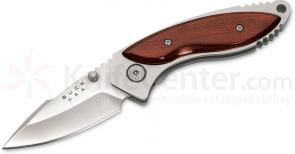 Buck 271 Alpha Dorado Folding Knife 2-1/2 inch Plain Blade, Rosewood Handles, Leather Sheath