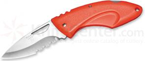 Buck Juno Folding Knife 2-7/8 inch Combo Blade, Orange Handles