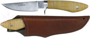 Camillus 9 inch Our Very Best Hunter Fixed Blade Knife, Curly Maple Handle