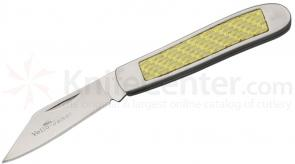 Camillus Yello-Jaket 1 Blade Peanut Folding Knife AUS8 Plain Blade, Carbon Fiber Accents