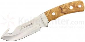 Camillus 19145 Les Stroud Aspero Fixed 4.5 inch Blade with Gut Hook, Olive Wood Handles