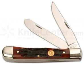 Canal Street Cutlery 4 1/8 inch Closed Moon Pie Trapper Dk Amber Stag Bone