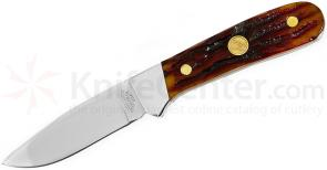 Canal Street Cutlery Trailing Drop Point Hunter 3-1/4 inch D2 Blade, Dark Amber Stag Handles (133326)