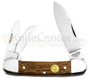 Canal Street Cutlery 3-1/2 inch Three Blade Cannitler, D2 Blades, American Chestnut Handles