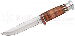 Case Leather Hunter Mushroom Cap Fixed 5 inch Clip Point Blade, Leather Handle, Leather Sheath (365-5 SS)