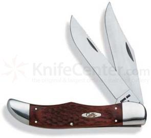 Case Knives Folding Hunter 2 Blade With Leather Sheath ( 6265 SS ) 5-1/4 inch closed