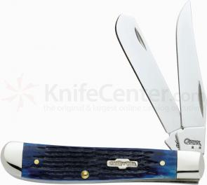 Case Blue Bone Handle Mini Trapper 3-1/2 inch Closed (6207 SS)