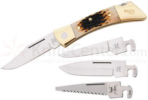Case Amber Bone XX-Changer Lockback 5 inch Closed (XX-CHANGER SS), Leather Sheath