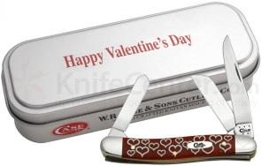Case Valentine's Day Smooth Dark Red Bone Medium Stockman in Gift Tin 3-5/8 inch Closed (6318 SS)